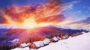 günbatımı,kış,kar,köy,dağ,orman,ağaç