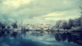 kış,kar,orman,göl,gökyüzü