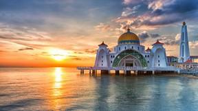 selat cami,malezya,melaka,deniz,günbatımı