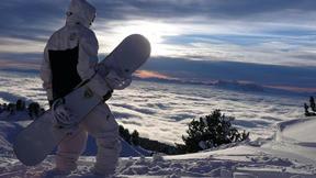 snowboard,kar,dağ,gökyüzü,bulut