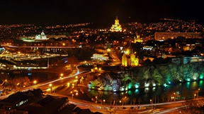 tiflis,şehir,gece,nehir,köprü