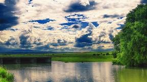 yaz,göl,ağaç,gökyüzü,bulut