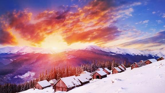 Günbatımı Karlı Dağ