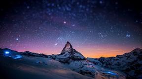 doğa,dağ,yıldız,gökyüzü,kar