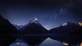doğa,dağ,gece,göl,gökyüzü