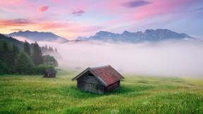 doğa,dağ,sis,ev,orman,ağaç