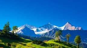 doğa,dağ,kar,gökyüzü,ağaç,ev,güneş