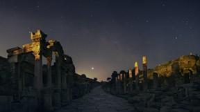efes,antik kent,izmir,gece
