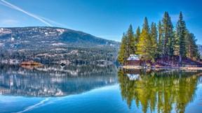doğa,göl,ağaç,dağ,yansıma