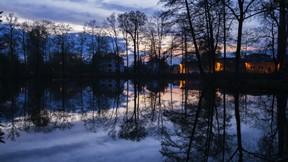 doğa,göl,gece,ev