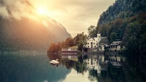 doğa,göl,ev,kuğu,günbatımı,dağ