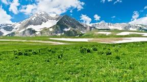 ilkbahar,dağ,kar,çimen