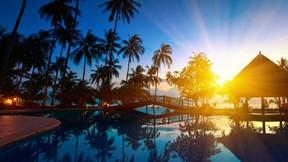 yaz,günbatımı,tropikal