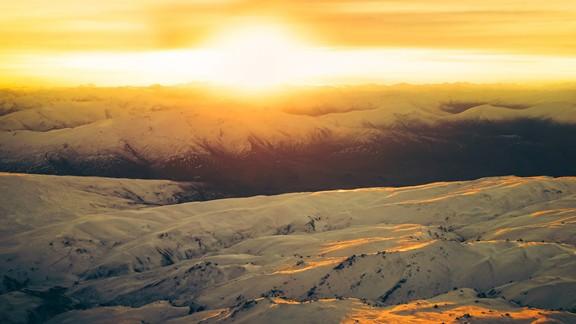 Günbatımı Karlı Dağlar
