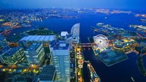 yokohama,japonya,gece,deniz,şehir